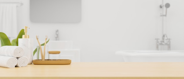 Tabletop with mockup space and bath accessories over modern white bathroom interior 3d rendering