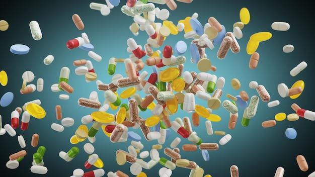 錠剤、青のカプセル