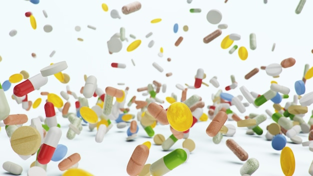 Tablets, capsules on white