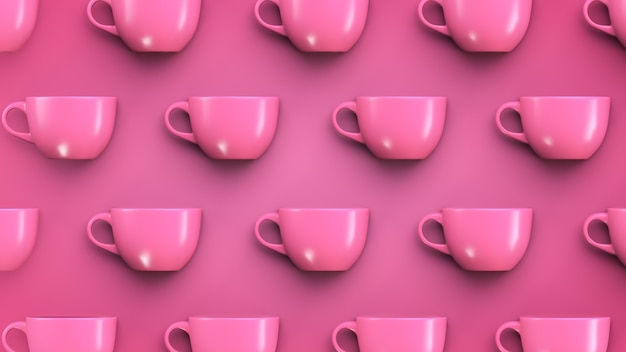 Tableware theme background. pink mugs on pink background.