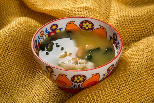 Tacaca is a specialty cuisine amazon. served in a natural bowl, tucupi boiling is poured over a gum made from tapioca flour. it adds a generous portion jambu leaves and dried shrimp completes the dish