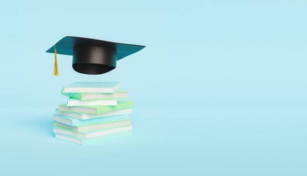 卒業帽付きの本の鋲