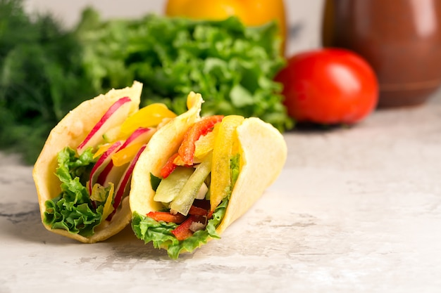 Taco with fresh vegetables