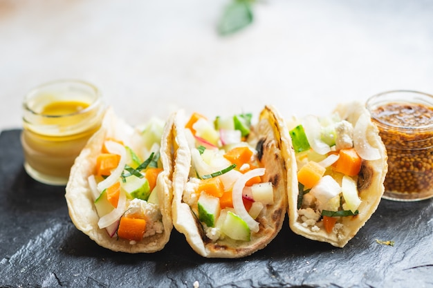 Tacos vegetable doner kebab flatbread taco on the table healthy food meal snack copy space food