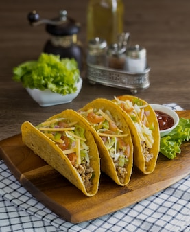 Tacos with meat and vegetables, mexican food
