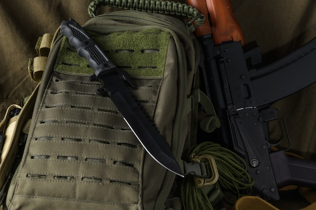 Tactical combat knife backpack and ak74