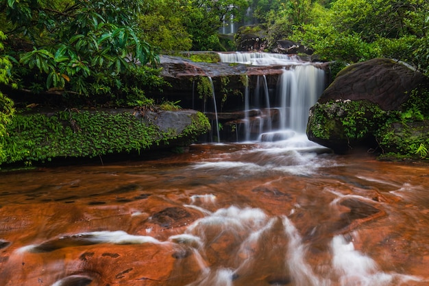 Tad-wiman-thip waterfall, beautiful waterfall in bung-kan province, thailand.
