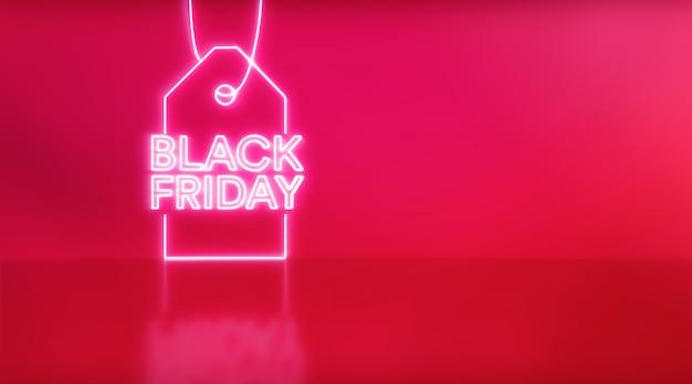 赤い背景の黒い金曜日のネオンライトのレタリングにタグを付けます。販売と購入の概念。 3dレンダリング-イラスト。