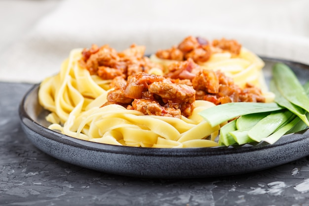 Tagliatelle bolognese pasta with minced meat