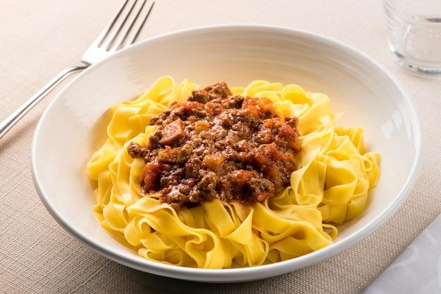 Taglietelle al ragu, from emilia romagna, italy