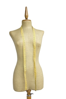 Tailor mannequin with tape measure isolated