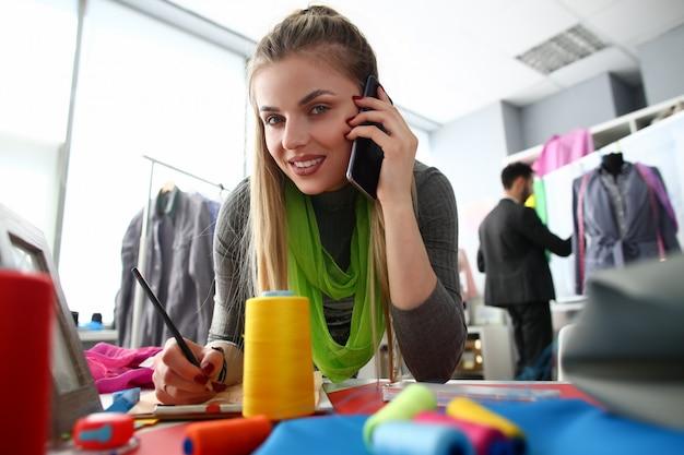 Tailoring needlework business woman talking phone