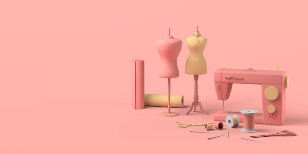 Швейная мастерская с манекенами, тканями, наперстками и швейной машиной. швейная мастерская.