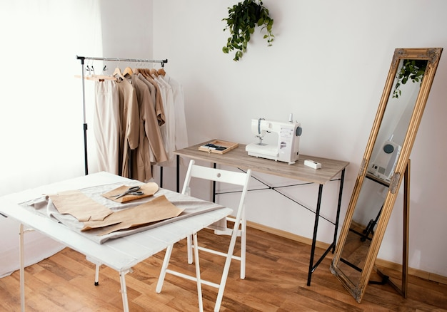 Tailoring studio with sewing machine