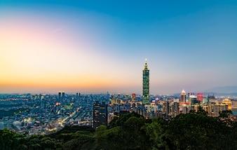 Taipei skyline view from elephant mountain