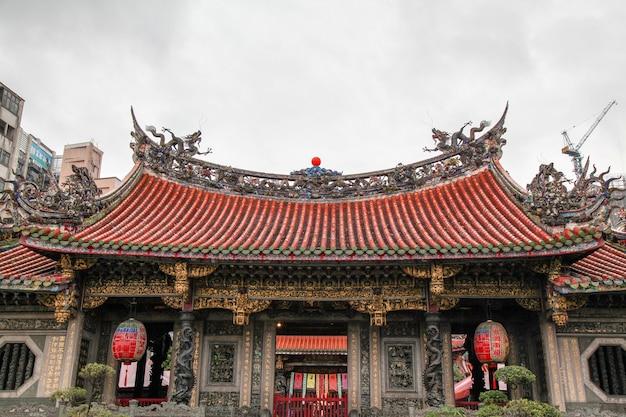 台北、台湾-2018年10月12日:台湾の人々で最も有名な龍山寺が雨の日に訪れます。