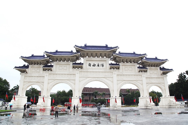Taipei, taiwan - october12, 2018: the main gate of chiang kai shek memorial hall (national taiwan democracy memorial hall) in rainy day taipei, taiwan.