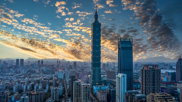 Taiwan city skyline and skycraper