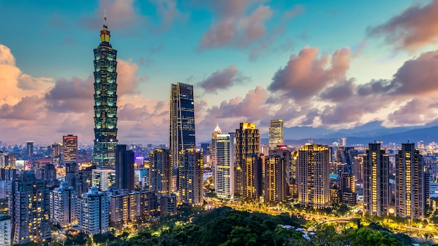 Taiwan city skyline and skyscraper