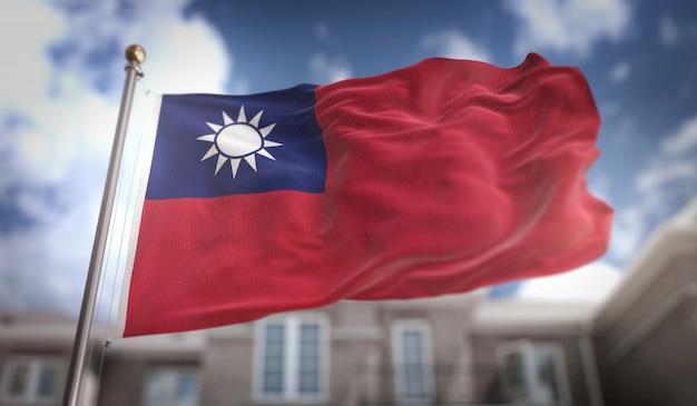 푸른 하늘 건물 배경에 대만 국기 3d 렌더링