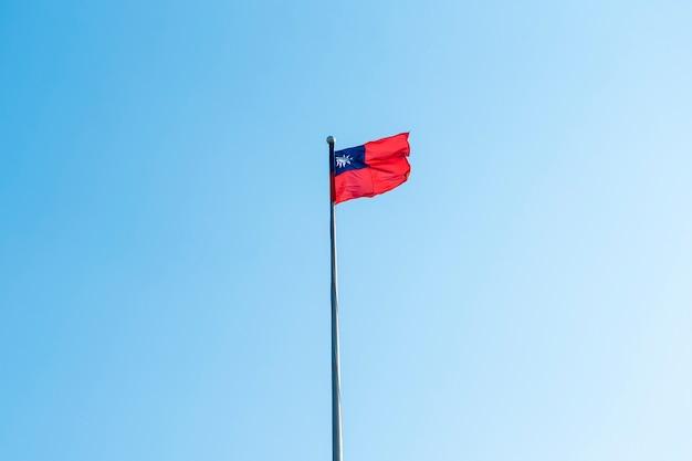 Taiwan flag on blue sky
