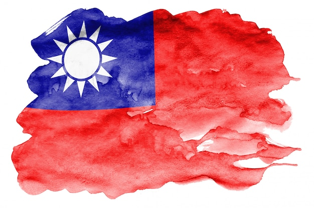 Taiwan flag  is depicted in liquid watercolor style isolated