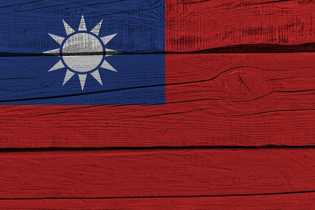 Taiwan flag painted on old wood plank