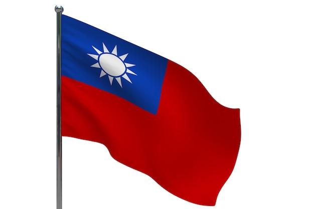 Taiwan flag on pole. metal flagpole. national flag of taiwan 3d illustration on white