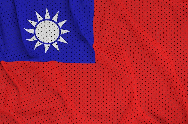 Taiwan flag printed on a polyester nylon sportswear mesh fabric
