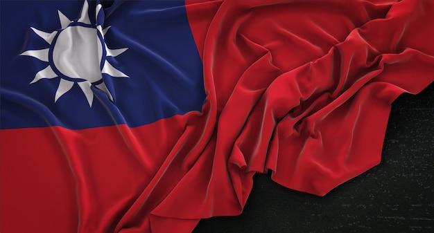 Taiwan flag wrinkled on dark background 3d render