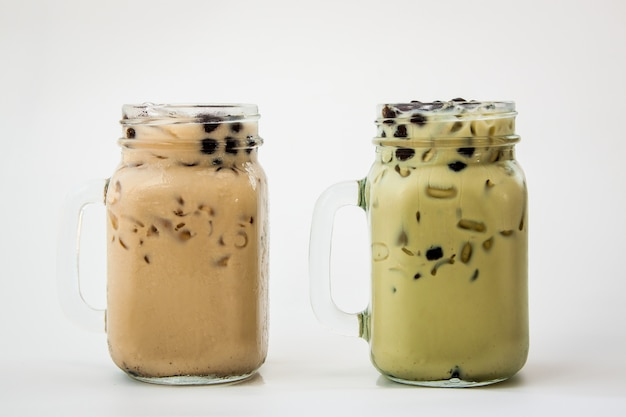 Taiwan ice milk tea and taiwan green tea with milk and bubble boba