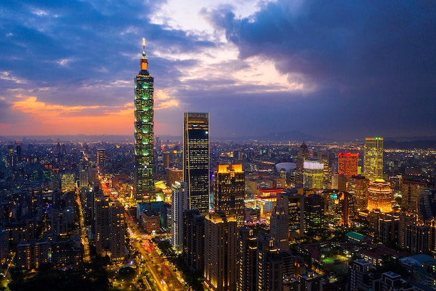 Taiwan skyline, beautiful cityscape at sunset.
