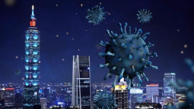 코로나 바이러스 2019 ncov 개념으로 밤에 대만 고층 빌딩