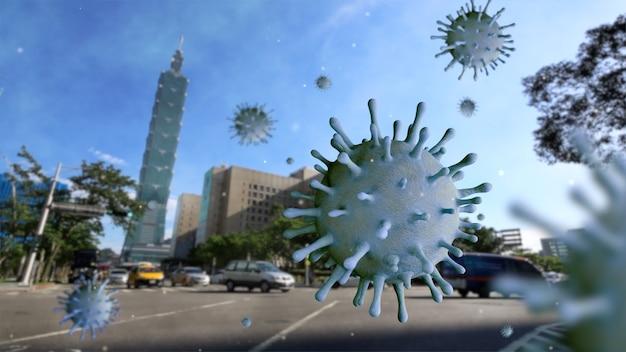 コロナウイルス2019ncovコンセプトの首都の台湾の高層ビル