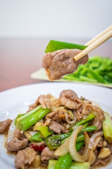 Taiwan traditional delicious stir-fried lamb in kaohsiung