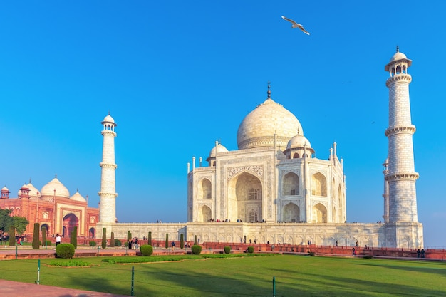 Taj mahal complex, a famous unesco object in agra, india.