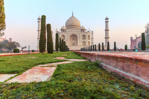 Taj mahal view from the pool, india, agra.