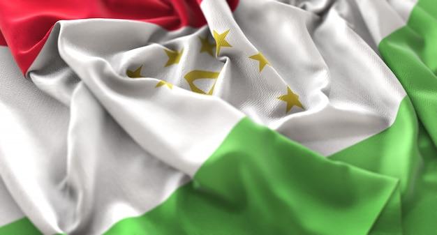 タジキスタンの旗は美しくマクロ接写を振る