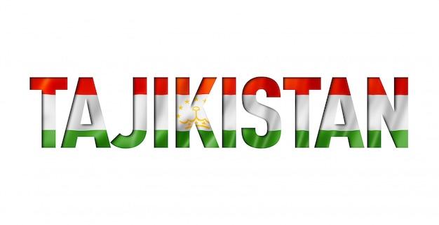 Tajikistan flag title on white background