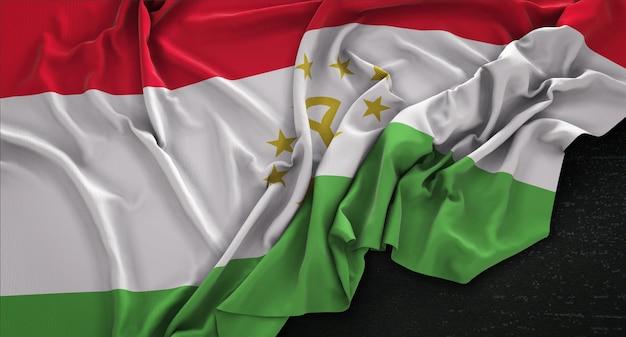 タジキスタンの旗は、暗い背景にレンダリング3dレンダリング