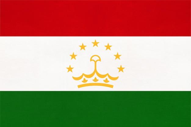 Tajikistan national fabric flag textile background. symbol of international world asian country.