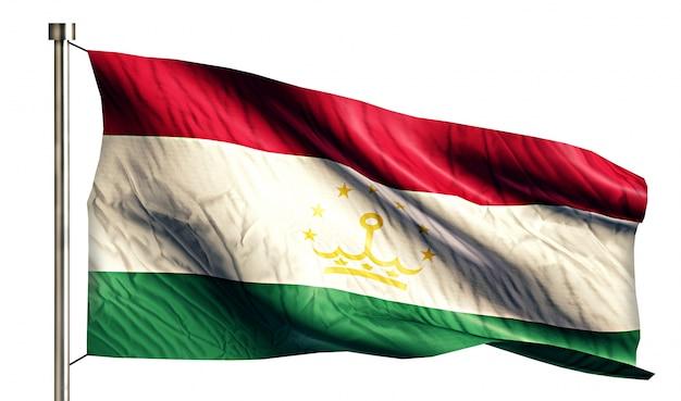 タジキスタンの国旗は、3dの白い背景を分離
