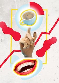 休憩する。コーヒーカップ。オフィスのコンセプト。現代現代美術のコラージュ