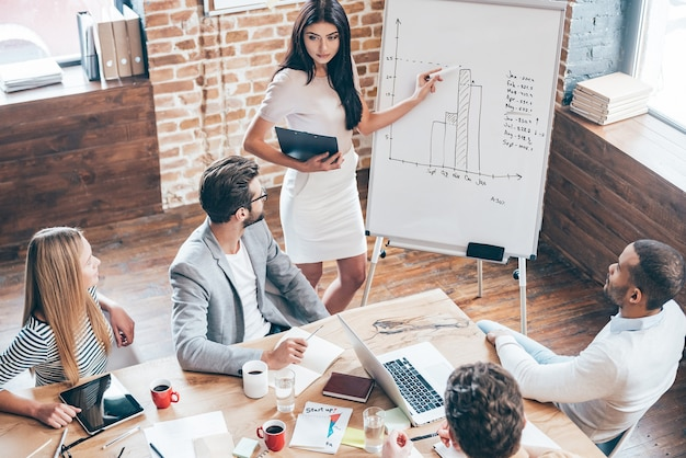 この数字を見てください!彼女の同僚が彼女を見て、オフィスのテーブルに座っている間、ホワイトボードの近くに立ってチャートを指している美しい若い女性の上面図