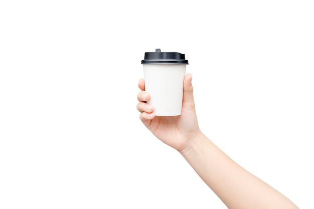 Take away coffee cup. female hand holding a coffee paper cup isolated