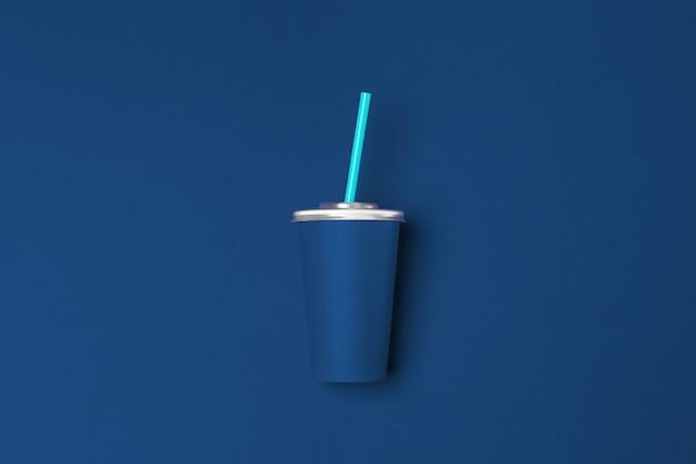 클래식 파란색 배경 평면도에 컵을 빼앗아
