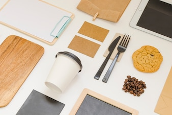 Take away food composition with coffee