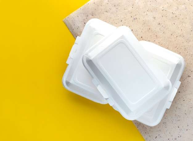 Take-away food and delivery. prepared diet lunches in papet lunch boxes