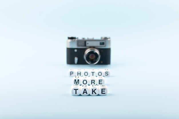 Take more photos text from white cubes