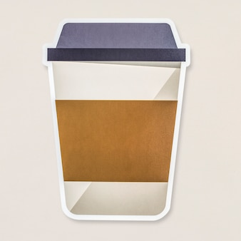 Takeaway hot beverage cup icon isolated